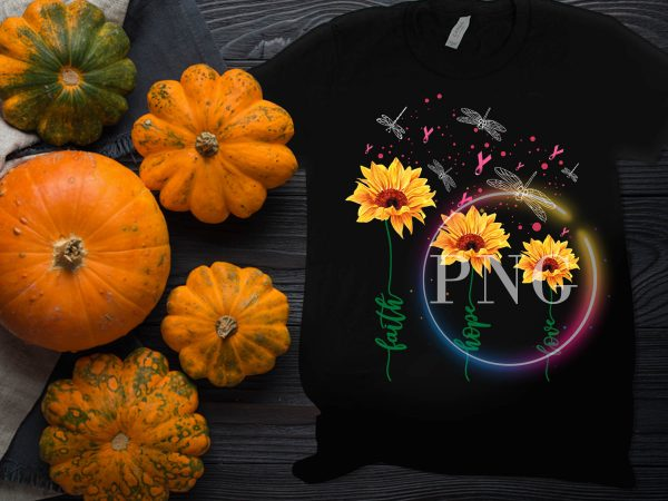 breast cancer awareness sunflower dragon fly – Faith hope love t shirt