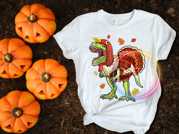 Dinosaur Costume Turkey Happy Thanksgiving Day T shirt Design Funny