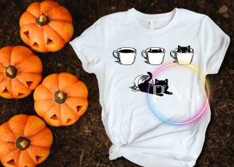 Coffe Black Cat funny T shirt design