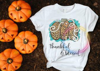 Pumpkin Leopard thankful & blessed Thanksgiving T shirt design