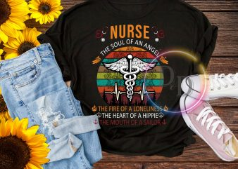 Nurse the sould of an angel – the fire of a loneliness, the heart of a Hippie T shirt