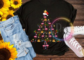 Flamingos Pine Lighting Christmas Tree T shirt design