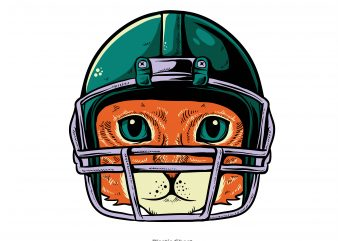 cat american football player t shirt vector file