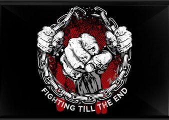 Fighting t shirt graphic design