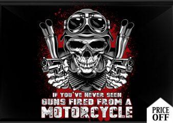 gun fired from motorcycle t shirt design template