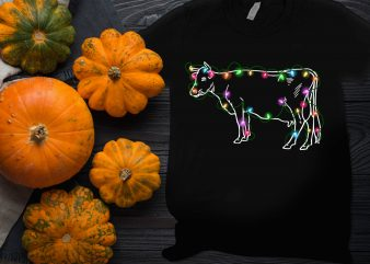 Cow light Thanksgiving Christmas Farm day T shirt