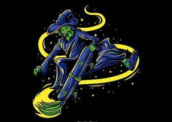 witch skateboarding t shirt design for sale
