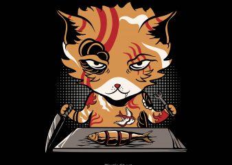 Yakuza Cat t shirt design template