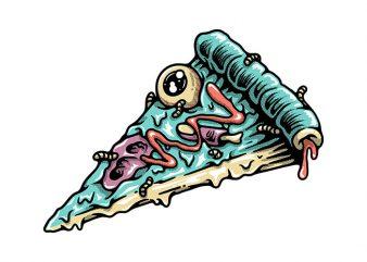 Pizza Zombie t shirt illustration