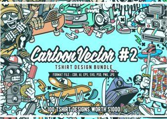 100 Cartoon Vector Tshirt Designs Bundle #2