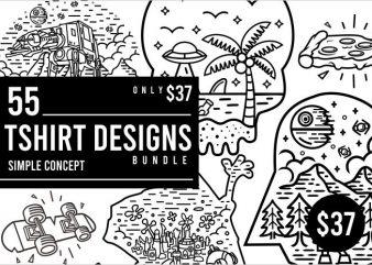55 Tshirt Designs Bundle