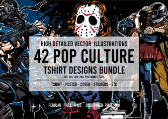 42 Pop Culture Tshirt Design Bundle