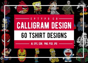 60 Calligram Tshirt Designs Bundle