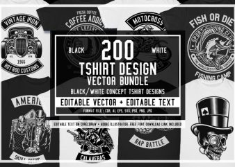 200 Tshirt Design Bundle Black and White Concept #2