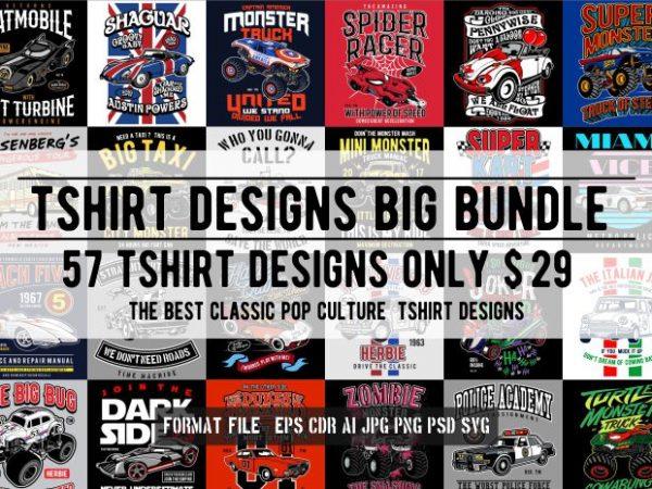 57 Tshirt Retro Pop Culture Designs Bundle