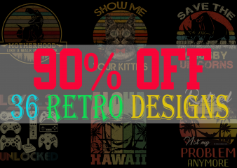 SPECIAL RETRO BUNDLE PART 2- 36 EDITABLE DESIGNS – 90% OFF – PSD and PNG – LIMITED TIME ONLY!