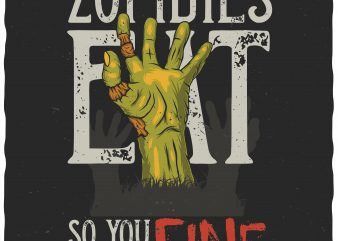 Zombies eat vector t-shirt design