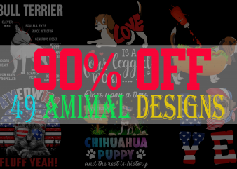 SPECIAL CAT DOG AND ANIMAL BUNDLE PART 1- 50 EDITABLE DESIGNS – 90% OFF-PSD and PNG – LIMITED TIME ONLY!