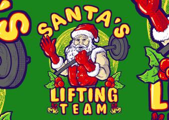 Santa's Lifting Team t shirt template vector