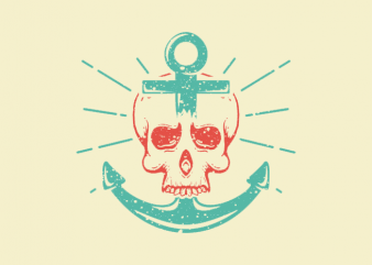 Skull Anchor t shirt template vector