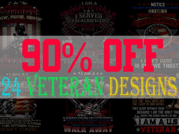 SPECIAL VETERAN BUNDLE PART 2- 24 EDITABLE DESIGNS – 90% OFF-PSD and PNG – LIMITED TIME ONLY!