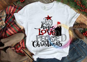 Joy hope Love Peace Christmas Cat T shirt