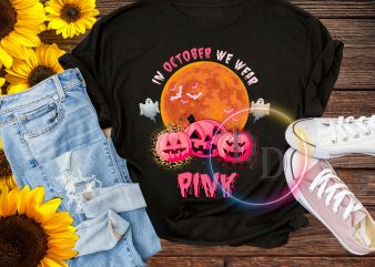 In october Pumpkin wear Pink Halloween costume t shirt