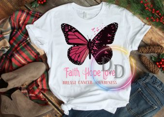 Butterfly Pink Faith Hope Love Breast Cancer Awareness T shirt