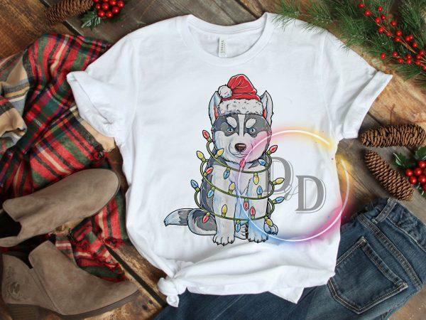 Husky Lights Santa Claus Hat Merry Christmas T shirt