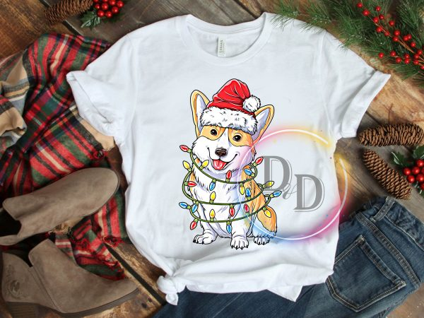 Corgi Lights Santa Hat Merry Christmas T shirt