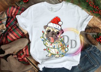 Bulldog Lights Merry Christmas Santa Hat T shirt