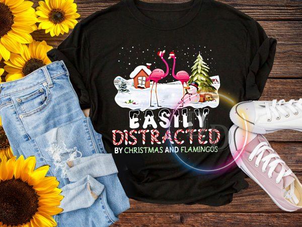 Flamingo Merry Christmas Easily Distracted T shirt