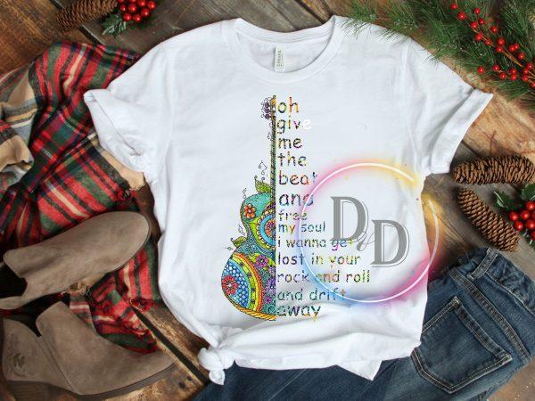 Hippie guitar rock T shirt design