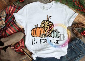 Pumpkin Autumn Leopard It's Fall Y'all T shirt