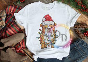 Bulldog Lights Santa Claus Hat Merry Christmas T shirt