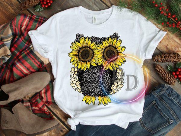 Owl Sunflower T shirt