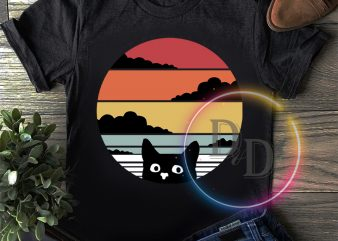 Vintage Black Cat Retro T shirt