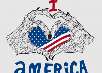 I Love America t shirt design vector template