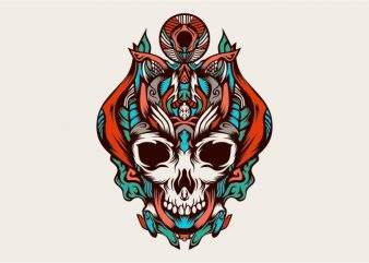 king of the skulls from the darkness vector t-shirt design template