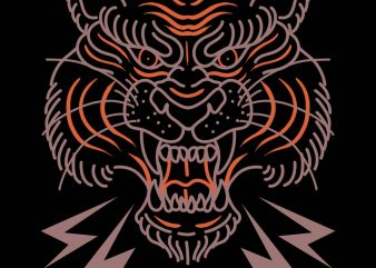 oldschool tiger tshirt design