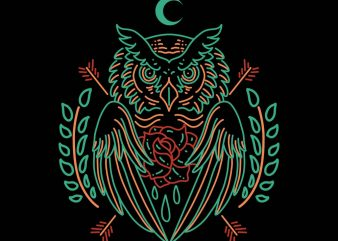 owl line art vector t-shirt design