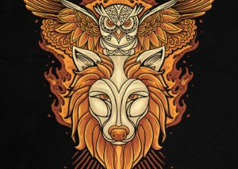 owl and wolf t shirt design online