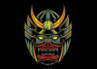 samurai wolf t shirt template vector