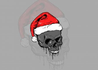skull x Christmas t-shirt design ilustration
