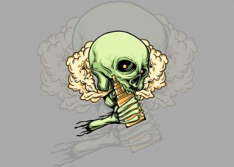 smoker skull t-shirt design