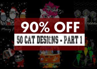 Super Cool Cat Bundle – Part 1 – 90% OFF t shirt template vector