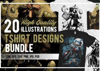 20 Illustrations Tshirt Designs