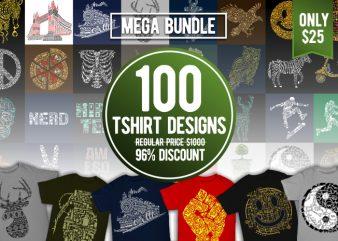 100 Tshirt Designs Bundle