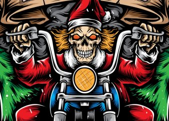 Santa Skull Biker t shirt template vector