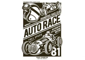 Auto Race t shirt vector